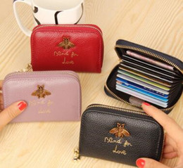 Wholesale bee coin - Fashion Bees Design Women Wallet Genuine Leather Cowhide Lady Credit Card Holder Female Wallet small Coin Purse