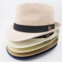 Wholesale blue straw cowboy hats - EPU-MH1818 Paper Straw Fedora Women Men Designer Hats for Fashion Summer Beach Holiday Classic and Vintage Style Jazz hats