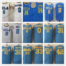 Wholesale Orange Bills - NCAA UCLA Bruins #0 Russell Westbrook 2 Lonzo Ball Reggie Miller Bill Walton 33 Abdul-Jabbar Kevin Love LaVine Blue White Basketball Jerseys