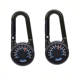 Wholesale Mini Compass Keychain - 1 PCS Mini Compass Thermometer Car Styling Accessories Decoration Multifunctional Keychain Hiking Metal Carabiner