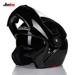 JIEKAI JK115 Flip Up casco de moto, moto de doble lente MOTO motocross Cuatro estaciones casco negro blanco amarillo rojo M L 2XL desde fabricantes