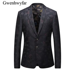 Wholesale Italian Jackets For Men - Black Men Blazer Italian Casual Men Elegant Slim Fit Jackets Tuxedos For Stage Show 3D Printed Mariage Homme Jacket 6102