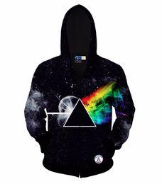 Wholesale Men Classic Hooded Jacket Hoodie - Hip Hop Hoodie Classic hoodies for men 3d sweatshirt hoody print Triangle rainbow zipper galaxy autumn hat hooded jacket