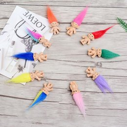 2019 boneca de borracha rosa Boneca Troll Cabelo colorido Membros da Família Papai Mamãe Bebê Menino Menina Leprocauns Trolls Presentes de Brinquedo Feliz Família Do Amor