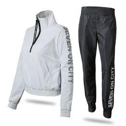 Wholesale korea women clothes - Korea Running Fitness Clothing Sport Jacket Pants Sets with Reflective Letter Waterproof Sportswear For Women Windproof