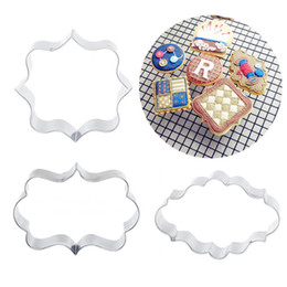 Wholesale wedding stencils - Stainless Steel Cookies Stencils 3pcs A Lot Wedding Blessing Frame Frame Shape Cake Cutters Biscuit Soap Mold Baking Tools