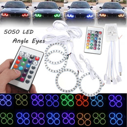 Wholesale Halo Car Headlights - 4 in 1 Angel Eyes Halo Ring Car Headlight RGB 96 LED Decorative Light Lamp for BMW Honda Hyundai coupe Toyota Camry CLT_102