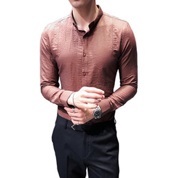 Корейская одежда высокого качества онлайн-Korean Tuxedo  New Slim Fit High Quality Dress Shirts Mens Long Sleeve Embroidery Business Social Shirt Male Clothing 3XL-M