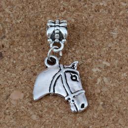 Wholesale metal horse head - MIC 50pcs lot Antiqued Silver Horse head Dangles Beads Fit European Charm Bracelet Jewelry DIY Metal 15.5x33.5mm