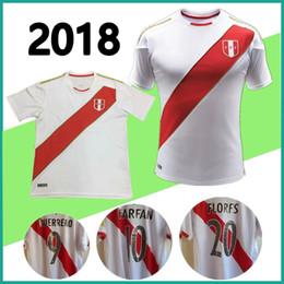 Wholesale Quality Custom Homes - new 2018 Peru Soccer Jersey 18-19 home white men Football Shirt uniforms custom GUERRERO FARFAN FLORES Peru Jerseys Thai quality S-XL