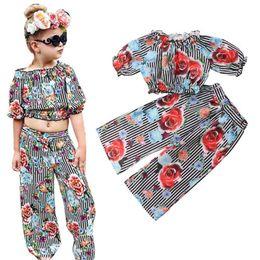 футболки с длинными рукавами Скидка 2PCS Toddler Kid Girls Clothes Striped Ruffle T-shirt Tops+Wide Leg Pants Floral Outfits Set