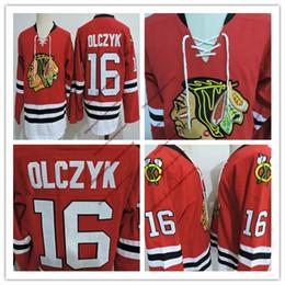 Juego usado camisetas de hockey online-Barato Mens Chicago Blackhawks ED OLCZYK VINTAGE Camisetas cosidas # 16 ED OLCZYK Black hawks 1999 Juego Worn Red hockey Jersey S-3XL
