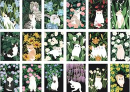 Wholesale Christmas Mail - 30pc lot Cats and flowers Post card  Postcards   gift cards  Christmas CardCan be mailed  Greeting card Office & School Supplies