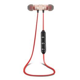 sony mobile headphones UK - Metal sports Bluetooth headset M9 sweat-proof headphones magnetic headphones stereo wireless headset mobile phone with box