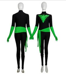 Costumi fenix x uomini online-Costume da supereroe di Black Green X-Men Phoenix Warrior Spandex