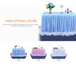 mesa de noiva contornando Desconto Tabela Tulle Natal Saia Toalha de Mesa para o chuveiro Início Birthday Party Decoration Wedding Party / Baby Chiffon Gauze Bridal Veil