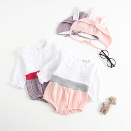 c093e2126372 2018 New Baby Girls Romper Bunny Ear Long Sleeve Infant Jumpsuit high  quality cotton Onesie + Cartoon ears hats Toddeler Outfits Y029