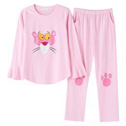 Ruffles rosa Pijamas Meninas Mulheres Spring 2018 Calças dos desenhos animados manga comprida Elastic cintura Cotton Salão Pijamas pijama S87610 de