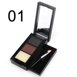 Wholesale Professional Waxing - Professional 2 Color Eyebrow Powder Palette Eyebrow Wax With Brush Natural Waterproof MakeUp Set cosmetic tool