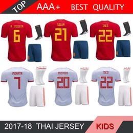 Spanien online-Spanien Kinder-Kit zu Hause weg Fußball-Jersey-WM 2018 Spanien-Fußballhemd 2018 MORATA ISCO ASENSIO RAMOS PIQUE Fußball Socke Verkaufs