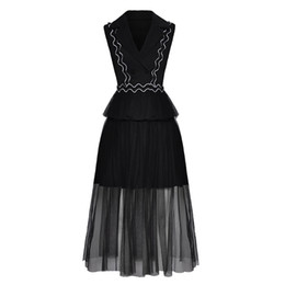 Femmes Noir Brodé Vague Décolleté Col V Col Collar Gilet + Gaze Jupe Mode Costume Décontracté 2018 Nouveau Style ? partir de fabricateur