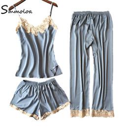 233926cf31 wholesale Women Silk Pajamas Sleeveless Top + Shorts + Long Pants 3 Piece Sets  Silk Pyjama
