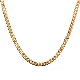 Wholesale Titanium Gold Chain Mens - EURO-US Mens Gold Necklace Chain 24 30 inch Long 5MM Wide Titanium Stainless Steel Gold Color Cuban Chain For Men Women High Quality
