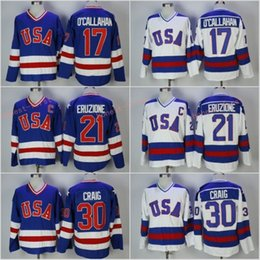 Мужская одежда 1980 года, сборная США по хоккею с шайбой 17 Джек О'Каллахан 30 Джим Крейг 21 Майк Эрузион США Чудо на альтернативный год от
