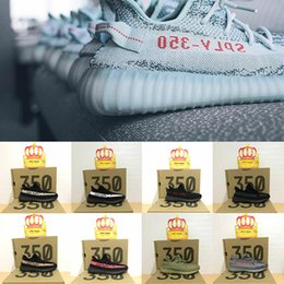 Wholesale Real Low Cheap - Kanye West Boost 350 V2 Zebra Blue Tint B37571 Real Boost Mens Womens Running Shoes Fashion Outdoor Sneakers Cheap Wholesale Online