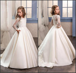 Wholesale Girls First Birthday Party - Princess White Lace Flower Girl Dresses 2018 New Sheer Long Sleeves First Communion Birthday Party Dresses Girls Pageant Dress For Weddings
