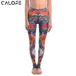 leggings bird print Promo Codes - CALOFE Brand Women Elastic Waist Yoga Pants Picnic birds Printed Sport Leggings Tights Pants Running Fitness Gym Yoga Leggings