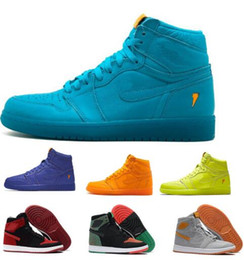 Wholesale Cheap Patent - Cheap 1 Gatorade Basketball Shoes Men Mens Green BHM OG G8RD Fly Line 1s I Mike UNC High Skateboard Sport Original Homme Shoe