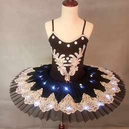 black white ballerina Canada - White Blue Black Professional LED light Ballet Tutu Kids Dress Ballerina Dress Children Halloween Stage Children Party Dress Costume 002