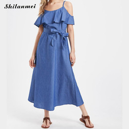 jeans vintage vestito Sconti Vintage Denim Dress Donna Estate 2018 Sexy  Spaghetti Strp Backless Ruffled Jeans ff136d8932d