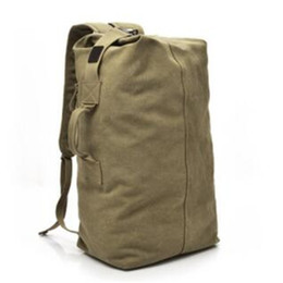 Wholesale two way bags - S L 2 Size Large Capacity Vintage Canvas Two Way Outdoor Travel Backpack Duffel Bag Handbag