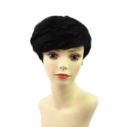 Wholesale Lace Front Wigs Chinese Bangs - short full lace 130 density wigs brazilian glueless short human hair wigs with bangs short bob lace front wig for black women