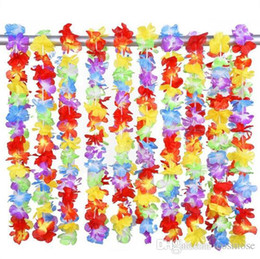 2020 flores coloridas artificiais Flor do arco-íris havaiano Leis flor artificial guirlanda de praia Colar Luau Partido orgulho gay 40 polegadas multi cor desconto flores coloridas artificiais