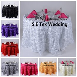 Wholesale Tablecloth Round Plain White - Wholesale Price 3D Satin Rosette Table Cloth \ Round Tablecloth For Wedding And Event Decoration