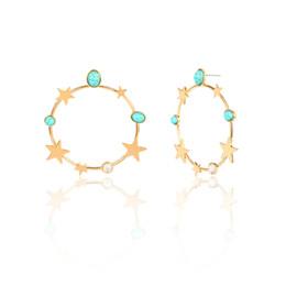 Boucles d'oreille en pierre en Ligne-Boucles d'oreilles de mode exagérées pour les femmes bohème rétro étoiles de pierre turquoise boucles d'oreille or et argent couleur européenne et américaine