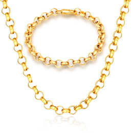 Wholesale mens solid gold bracelets - New 6mm Mens Womens Jewelry Set Solid Gold Color Filled Link Chain Necklace Bracelets Jewelry Sets X216 S261