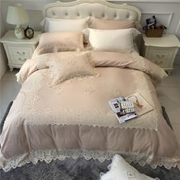 Wholesale egyptian cotton queen sheet sets - IvaRose Egyptian cotton bedlinen set lace edge luxury royal bedding set king queen size bed sheet Duvet cover Pillow shams