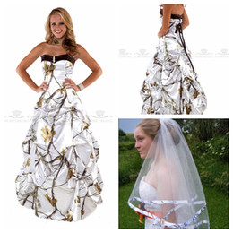 simple satin sweetheart white wedding dress Promo Codes - Sweetheart White Real Tree Camo Wedding Dresses 2018 Draped Skirt Satin Bridal Gowns Lace Up Back Custom Plus Size Camouflage Vestidos