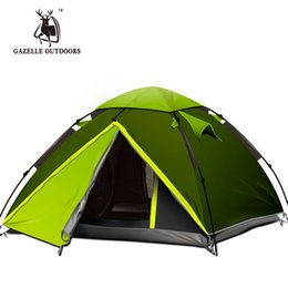 Водонепроницаемая ветрозащитная палатка онлайн-Gazelle 3-4 Person Quick Automatic Opening Tents Camping Climbing Windproof Waterproof Double Layer Outdoor Travel tent