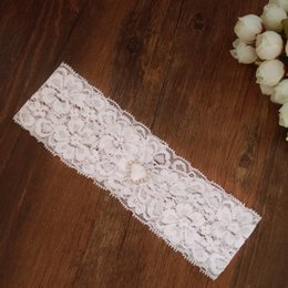 Wholesale vintage lace bridal garters - Wedding Vintage White Chiffon Flower with Rhinestones and Pearls Bridal Lace garter