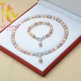 настоящий белый жемчуг колье колье Скидка NYMPH Natural Pearl Necklace Pearl Jewelry Real Pink White Freshwater Choker Necklace Fine Jewelry For Women