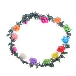 boho flower wreath wedding hair Coupons - Women's Boho Flower Wreath Rose Headband Hair Accessories Wedding Beach Decoration