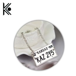 Wholesale Bracelet Dog Tags - whole saleSupernatural jewelry Supernatural bracelet Dog tag bracelet KAZ 2Y5 License Plate Number Pendant Vintage jewelry