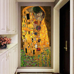 2019 marcos de la pared pinturas al óleo paisaje El beso Gustav Klimt óleo y pan de oro sobre lienzo 1 pieza Arte de pared enorme Decoración moderna Impreso Lienzo de pintura Imágenes