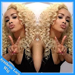 Wholesale Natural Looking Lace Front Wigs - Cosplay Wig Afro Kinky Curly Natural Looking Blonde #613 Color Synthetic Lace Wig Heat Resistant Lace Front Curly Synthetic Wigs