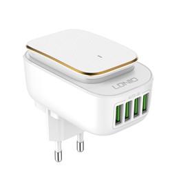 Apfel wand ladegerät ausgang online-LLDNIO Wall Charger 4 USB-Anschlüsse mit LED-Lichtadapter 5V 4.4A Ausgang EU / US / UK-Stecker für iPhone 7 für Samsung